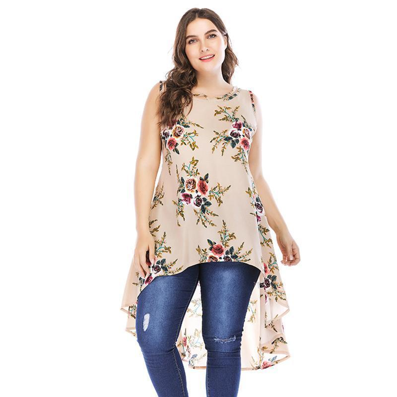2c56f98b969 2019 Summer Tops For Women 2019 4XL 5XL Plus Size Blouse Floral Print Low  High Asymmetric Hemline Chiffon Shirt Sleeveless Long Top From Jamie17