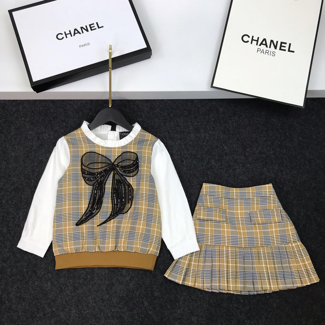 Girls skirts sets kids designer clothing bow tops + skirts 2pcs autumn shirt sleeves stitching plaid design cotton sets