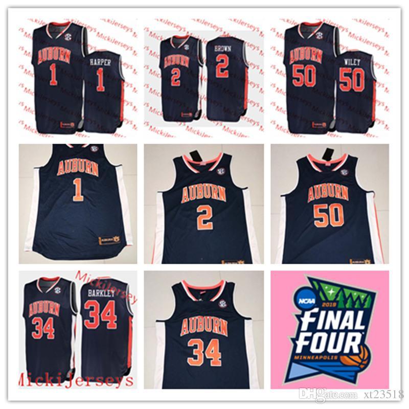 on sale 856c5 c1bc1 Mens Auburn 2019 Final Four #1 Jared Harper #2 Bryce Brown #50 Austin Wiley  Basketball Jersey Stitched #34 Charles Barkley Auburn Jersey