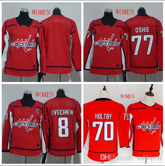 sale retailer 05d64 bcb66 2018 AD Women Washington Capitals Jersey Cheap 8 Alex Ovechkin 77 TJ Oshie  70 Braden Holtby Blank Red Stitched Ladies Hockey Jerseys