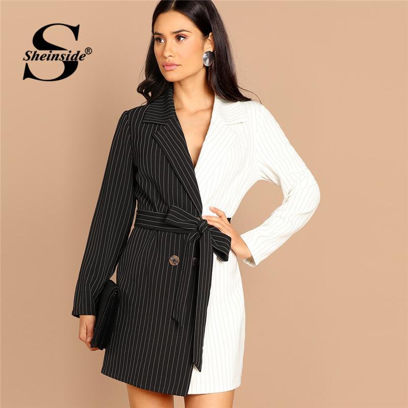 674a2bc36 Compre Sheinside Preto E Branco Mulheres Blazer Vestido De Escritório  Senhoras Dois Tons Cor Bloco Listrado Mulheres Vestidos De Manga Longa Mini  Vestido De ...