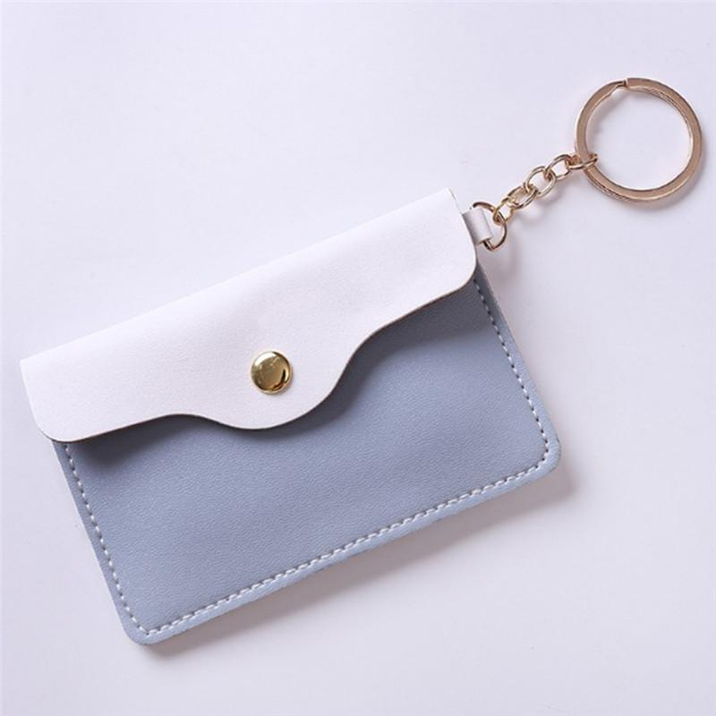1PC Badge Key Ring Keychain Wallet Women Girl Stylish Leather ID Card  Holder Card Bags 4Colors