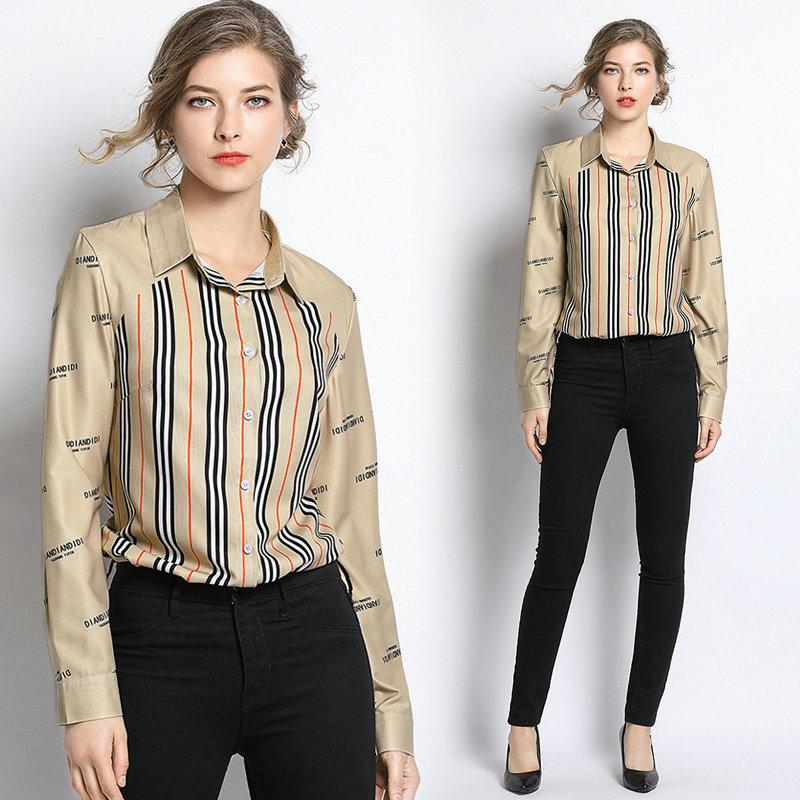 promo code 33183 37739 Positionierung Druck Shirt 2019 Frühjahr neue Frauen Blusen Langarm  Business Büro Hemd Mode lässig Hemd