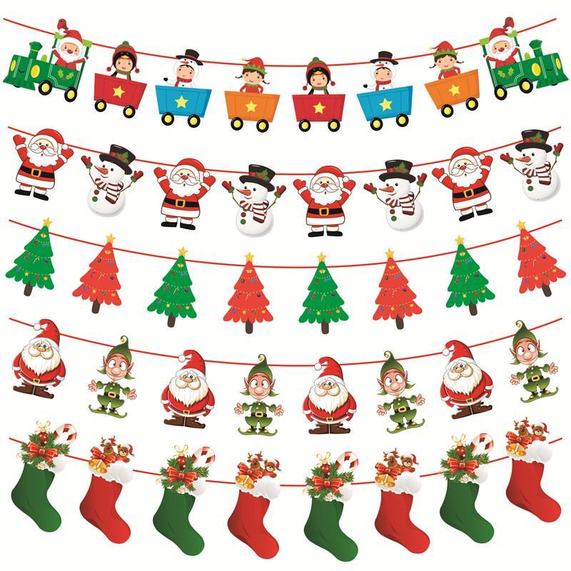 Christmas Party Decorations.3m Christmas Bunting Banners Merry Christmas Party Decorations For Kids Home Diy Garland Xmas Noel Elk Sock Flags New Year 2020