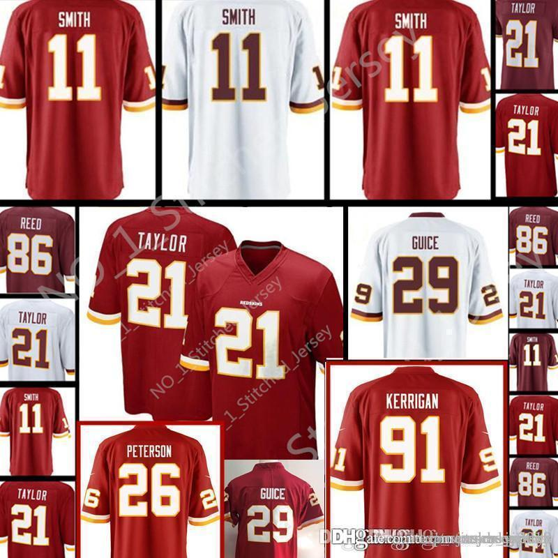 huge selection of 8b2eb 3afa7 Redskins #11 Alex Smith 21 Sean Taylor Jersey Men's 29 Derrius Guice 86  Reed stitched Football Jerseys Red White