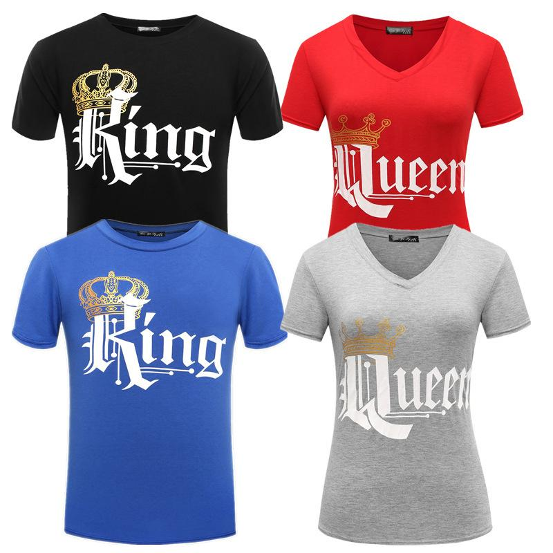 b25cda90 Mens Designer T Shirts T Shirt New Summer New Version Of The Explosion  Models Fashion Crown Printing Short Sleeved King Queen Couple T Shirt  Humorous T ...