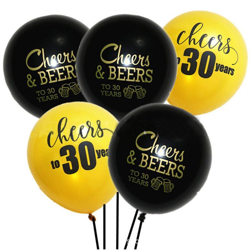 10 Pcs Noir Or 30 40 50 Ans Ballon Anniversaire De Mariage Ballons En Latex 10 Pouces Adultes âgés D Anniversaire Fête Décor Fournitures