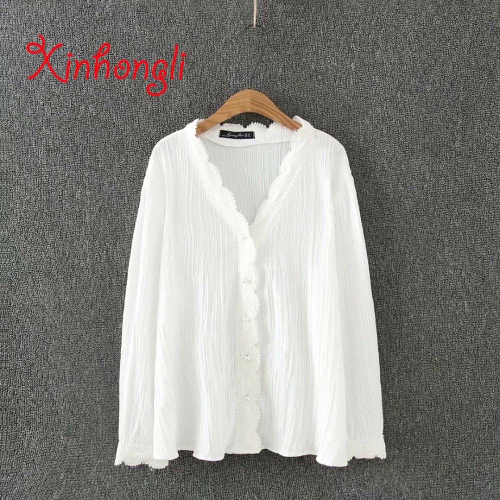 1c63240d2245 Plus Size Soft Cotton Lace V-neck Women Loose White Blouse 2019 ...