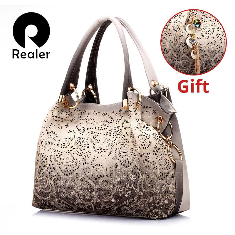 be635cc75458 REALER Brand Women Bag Hollow Out Ombre Handbag Floral Print Shoulder Bags  Ladies Pu Leather Tote Bag Red Gray Blue Handbag Wholesale Womens Bags From  ...