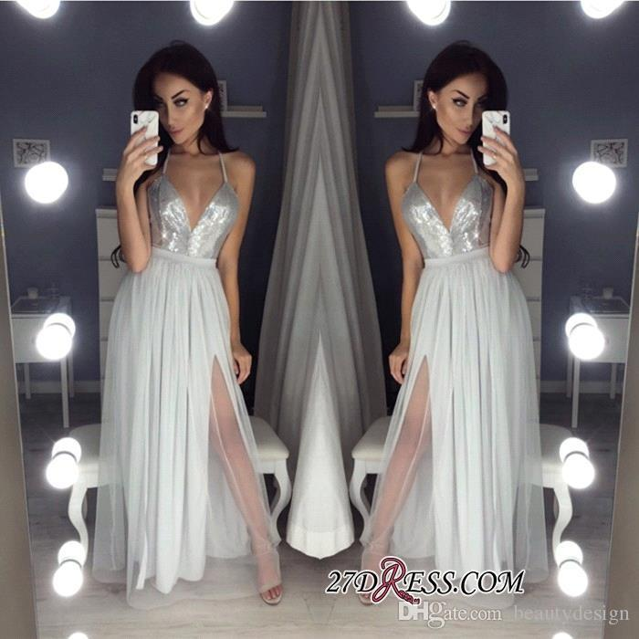 499326e94fcb9 Silver Gray Split Evening Dresses Long 2019 New Arrival Reflective Sequined  Prom Party Gowns A Line Spaghetti Straps Long Plus Size BC0855 Dress Long  ...