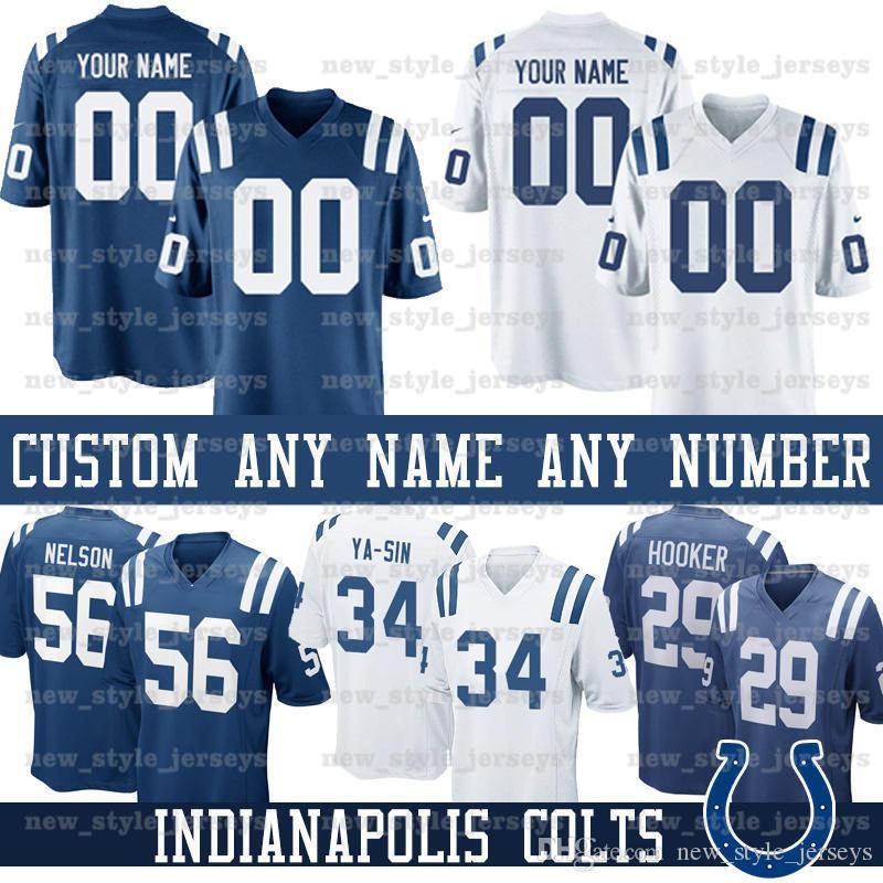 meet 42022 a1a7a custom Indianapolis Men Colts Jersey 4 Adam Vinatieri 85 Eric Ebron 25  Marlon Mack 29 Malik Hooker 23 Kenny Moore ll Football Jerseys