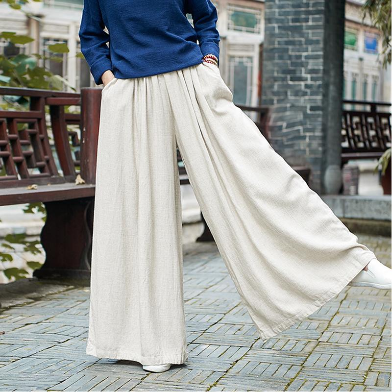 Linen Women Wide Leg Pants Elastic Waist 2019 Autumn Winter New Pockets Plus Size Women Clothing Loose Vintage Trouser