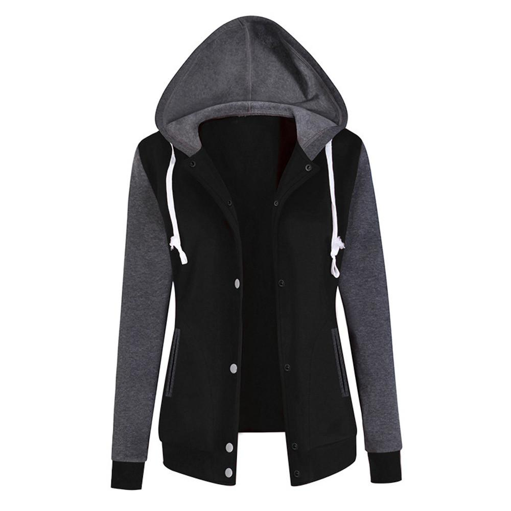 JAYCOSIN Fashion Ladies Solid Long Sleeve Sweatshirt Chic Casual Elegant Baseball Sport Comfortable Chic Hooded Pullover Tops