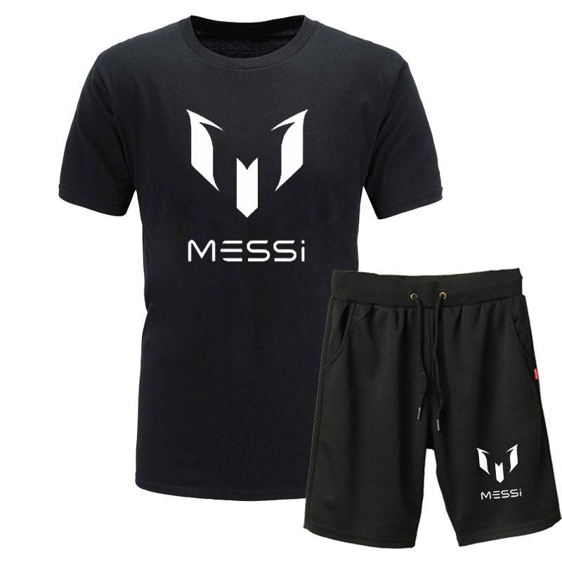 fc26fdbb Summer Hot Sale Men's Sets T Shirts+Shorts Two Pieces Messi print Sets  Casual Tracksuit Male 2019 Casual Fitness Tshirts men