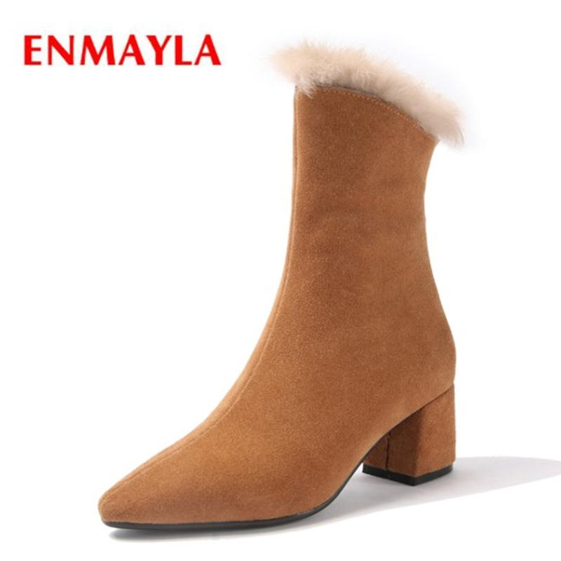 4660f24b5 ENMAYLA Pointed Toe Basic Slip On Square Heel Boots Women Zapatos De Mujer  Shoes Botas Mujer Size 34 39 ZYL1921 Ankle Booties Combat Boots For Women  From ...
