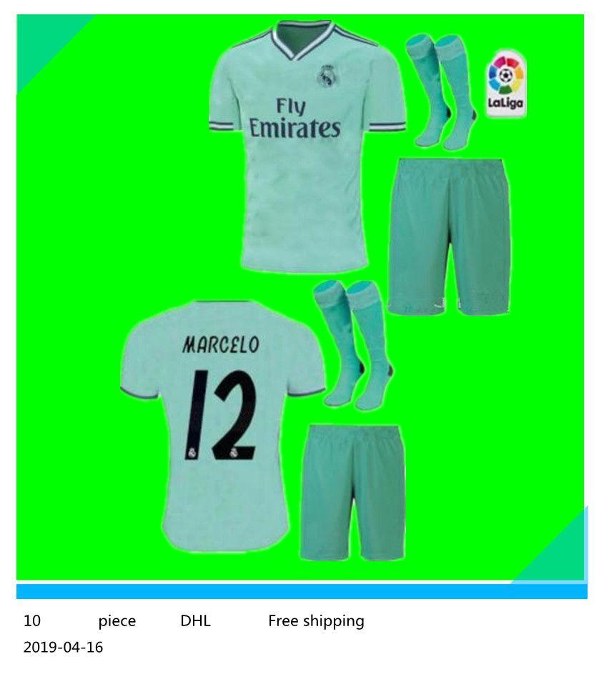 aae4744088 Compre 2019/20 Kit Homens + Meia Real Madrid Terceira Camisa De Futebol  Verde Nova Camisa De Futebol # 20 ASENSIO ISCO MARCELO Madrid 19 20  Uniformes De ...