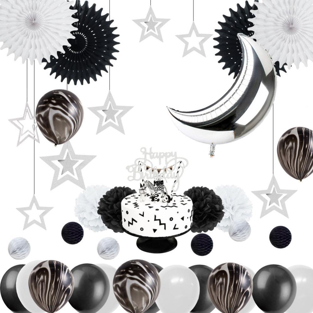 Monochrome Safari 1st Birthday Party Decoration Kit Black White Marble Balloons Silver Moon Cake Topper Space Theme Baby Shower