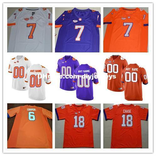 competitive price 17b78 26dba Cheap Mens Clemson Tigers College Football 6 Zerrick Cooper 7 Chase Brice  15 Hunter Johnson O'Daniel White Orange Purple Stitched Jerseys