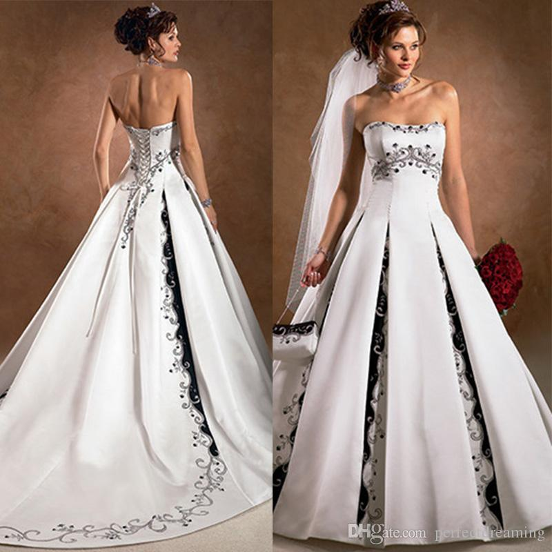 A Line Emborider White Ivory Wedding Dresses With Black Color Lace