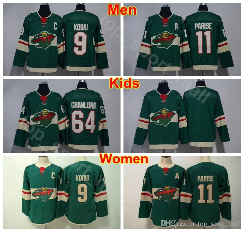 new concept 5f8a6 87b3a Men Youth Women Minnesota Wild 11 Zach Parise Kids Jersey Man Lady 64  Mikael Granlund 9 Mikko Koivu Blank Hockey Team Color Green