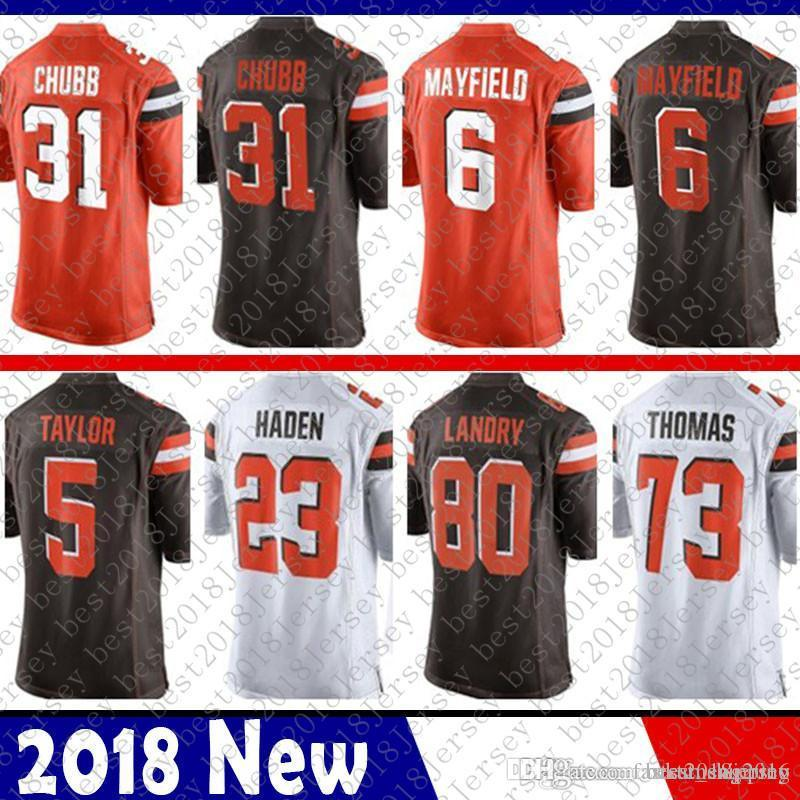 809b880c ... usa 2018 limited cleveland 6 baker mayfield 31 nick chubb brown jersey  5 tyrod taylor 80