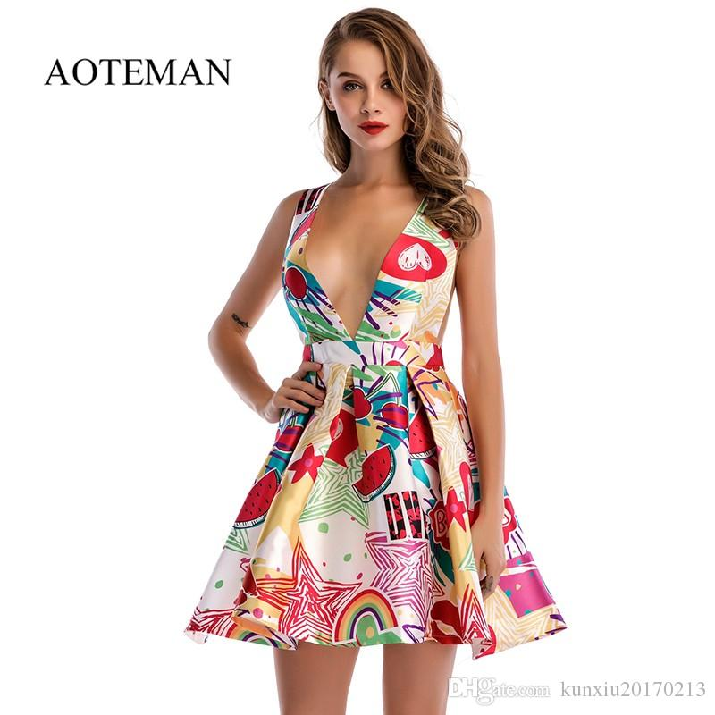 f9d65ab885f 2019 AOTEMAN Summer Dress Women 2018 Sexy Mature Style A Line Deep V Mini  Vest Dress Vintage Female Elegant Short Beach Party Dresses From  Kunxiu20170213