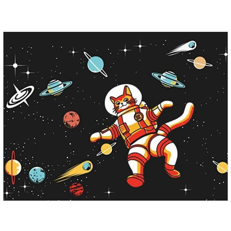 Diamante Pintura Kit Arts Craft Rodada Diamante 30x40cm / 12X16 Inch (colando Area) Pinturas de bordados coloridos - Cat Astronaut