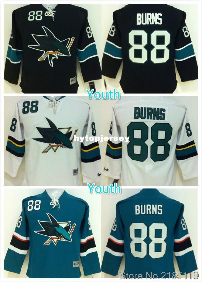 buy online 757ff 1cb88 Youth Brent Burns Jersey San Jose Sharks #88 Brent Burns Home Black Green  Stitched Embroidery Logo Ice Hockey Jerseys