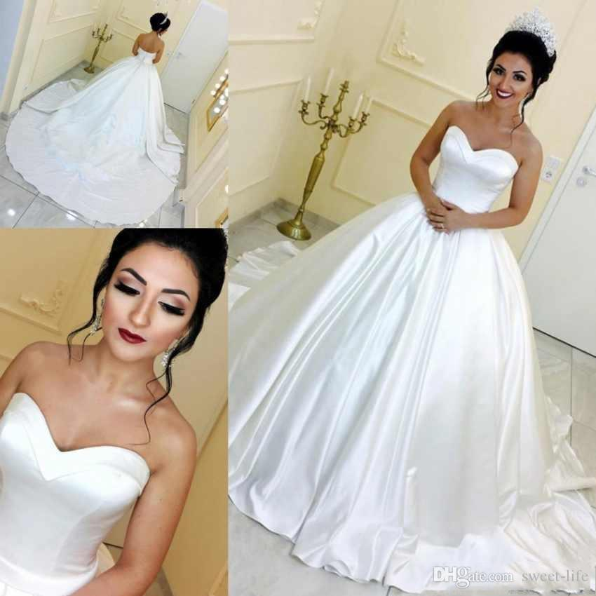 bd33897516b 2019 Modest Elegant Ball Gown Wedding Dresses White Sweetheart Sweep Train Bridal  Gowns Custom Made Wedding Gowns Wedding Dresses Bride Dresses Bridal Gowns  ...
