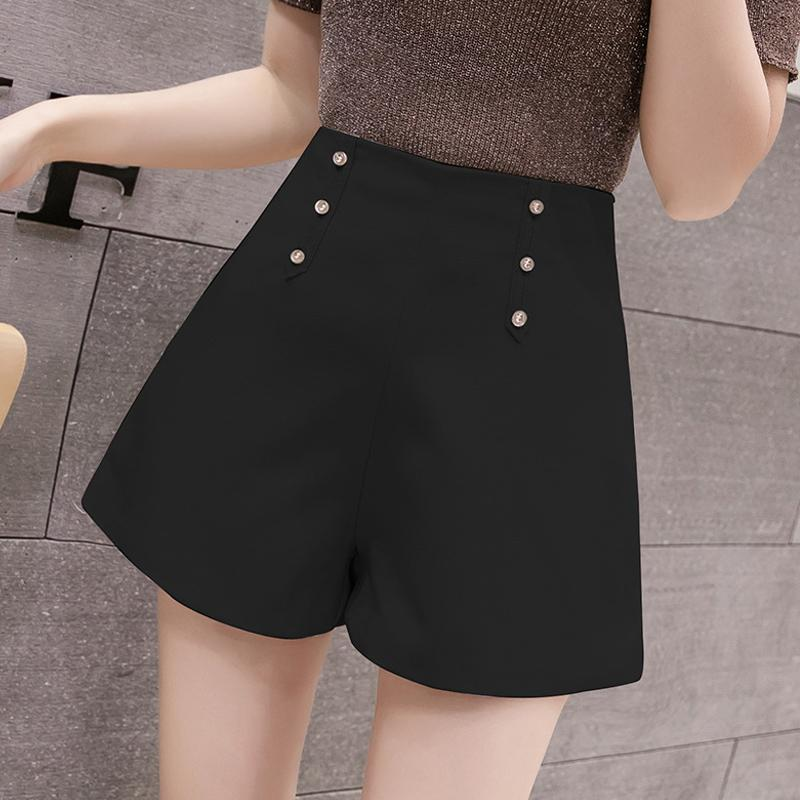 Neu Frauen Hohe Taille Knopf Shorts Office Lady Casual Shorts für den Sommer S66