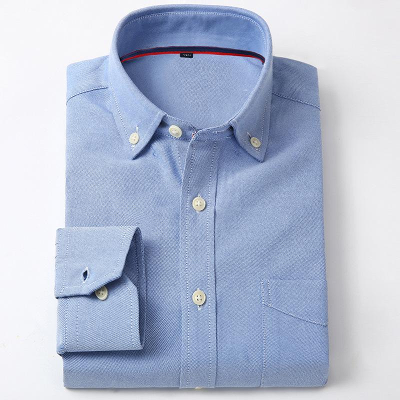 2019 New Oxford Men Shirt Brand Fashion Business Formal Slim Fit Breathable Social Solid/Striped Casual Blue Design Male Clothes