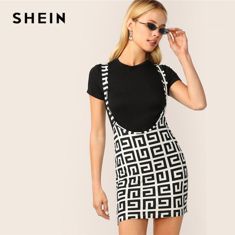 5e6385fa74 2019 SHEIN Geometric Greek Fret Print Suspender Skirt Summer Women Preppy  Stretchy Black And White Above Knee Bodycon Skirts From Vikey10, $43.72 |  DHgate.
