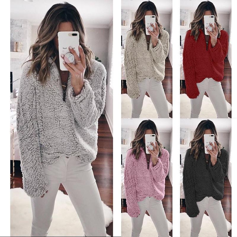 promo code aa3f7 12fcd Winter Pullover Hoodies Sweatshirts Fleece Dicke Warme Frauen  Reißverschluss Übergroße Hoodies Damen Rollkragen Crop Top hoodie