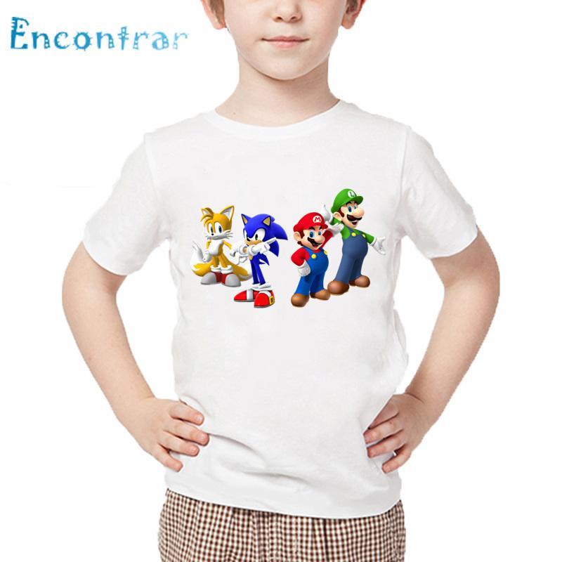 e8c4c4675 Compre Dibujos Animados Para Niños Sonic The Hedgehog Con Mario T Shirt  Niños Ropa Divertida Niños Bebés   Niñas Casual Summer Tops