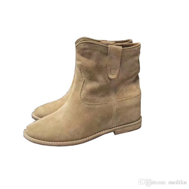 2039dbea3283e Black Khaki Ankle Boots Women Cow Suede Chelsea Short Booties Slip ...