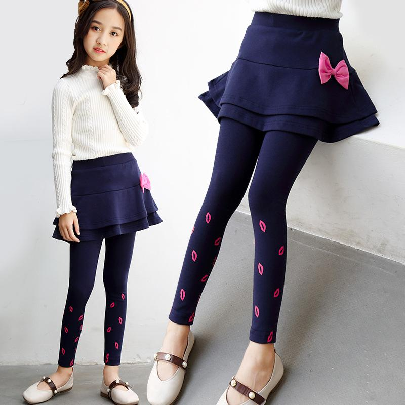 Girls Skirt-Pants 2019 Spring Autumn Children Legging Print Cake Skirts Fashion Girls Clothes Kids Trousers 4 6 8 10 12 13 Years