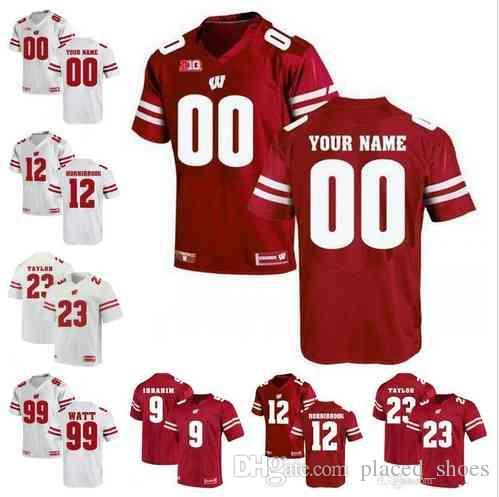 reputable site 92ce3 98c5e 2019 Custom NCAA Wisconsin Badgers 16 Russell Wilson 23 Jonathan Taylor 99  J. J. Watt 28 Montee Ball Football Jerseys S-3XL