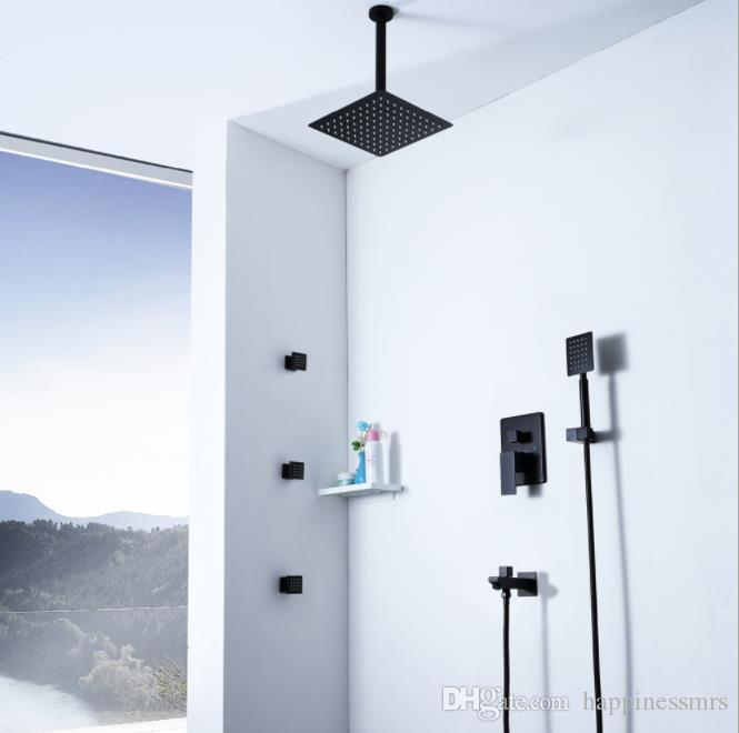 bathroom rain shower faucet black ceiling mounted showerhead set with 3 massage body jets hot cold brass mixer valve