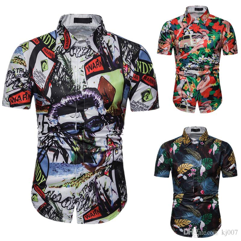 2019 New Style Short Sleeve T shirts Men 3d Fashion flower Printed Casual Shirt Summer Man CLothes for Beach Holiday Stand Collar