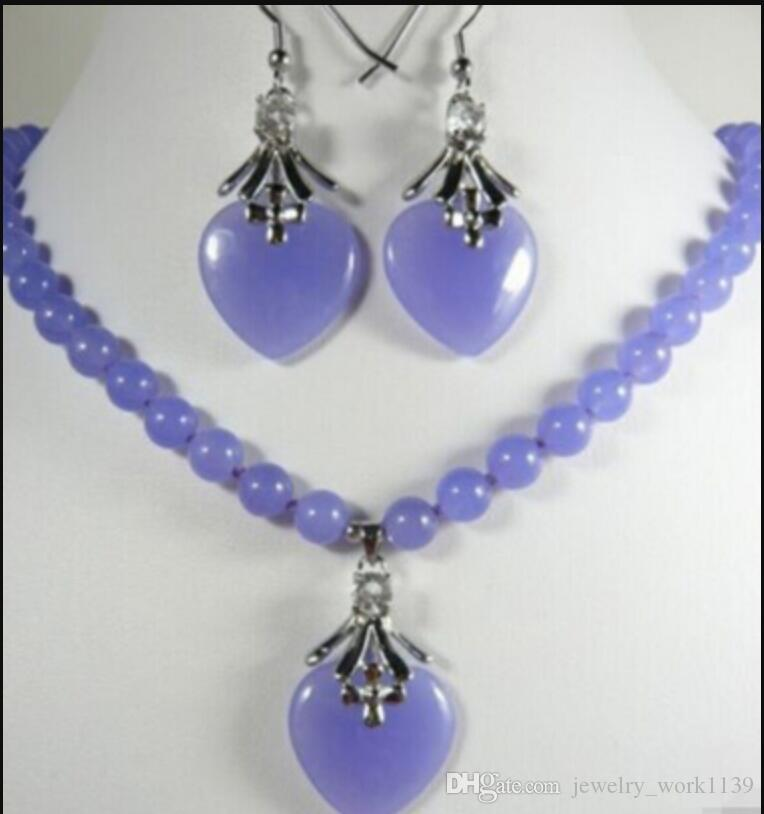 Necklace New Jewelry Purple Necklace heart-shaped pendant Earring set