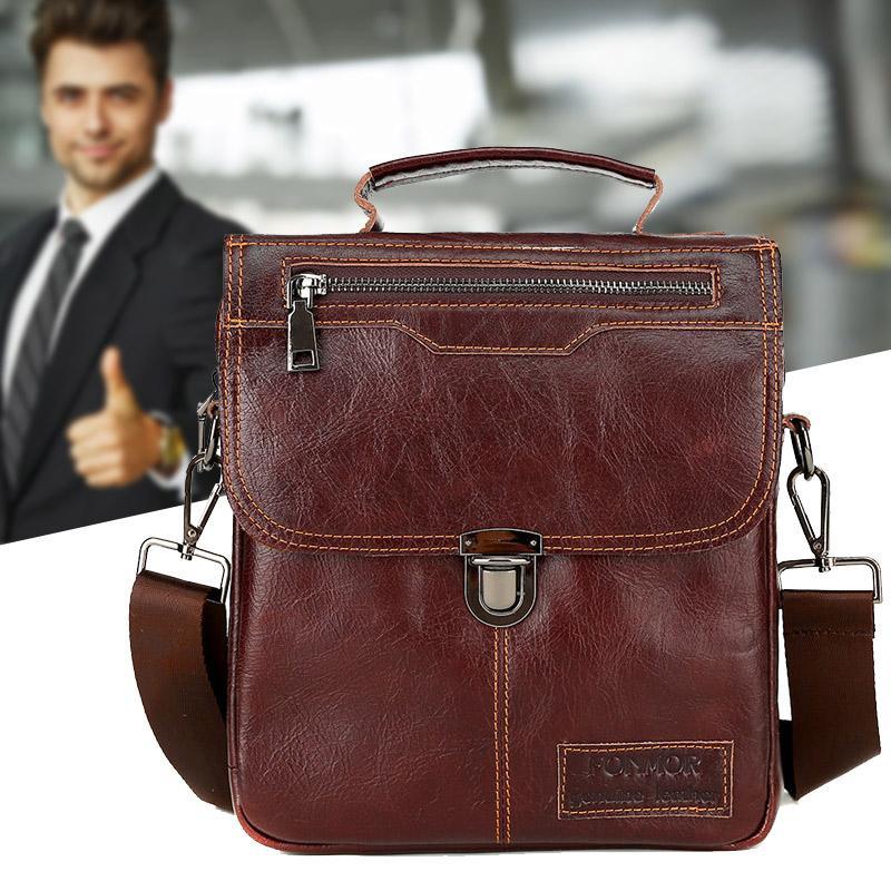 Men Genuine Leather Vintage Buckle Shoulder Bag Satchel Crossbody