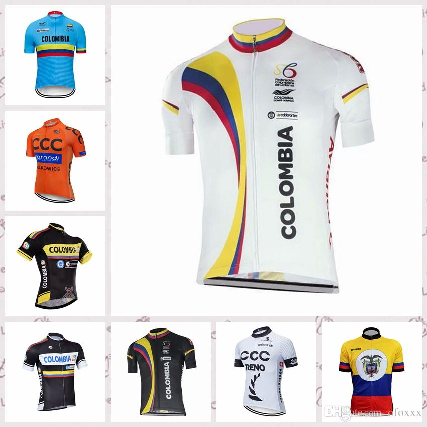 f48835f9c0e Colombia Cycling Short Sleeves Jersey White Mountain Bike Clothes ...