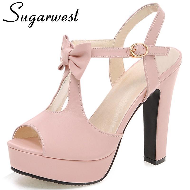Été Mujer Mariage Sandales Sugarwest Talons Sandale Noeud Papillon Sandalias De Plateforme Chaussures Élégant 2017 Femme Hauts Ww519 CBdxoe