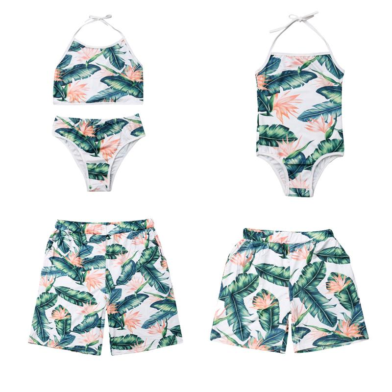 Mãe Filha Swimwear Nova Família Swimwear Mommy and Me Swimsuit Beachwear Floral pai e filho Matching Roupa Calção