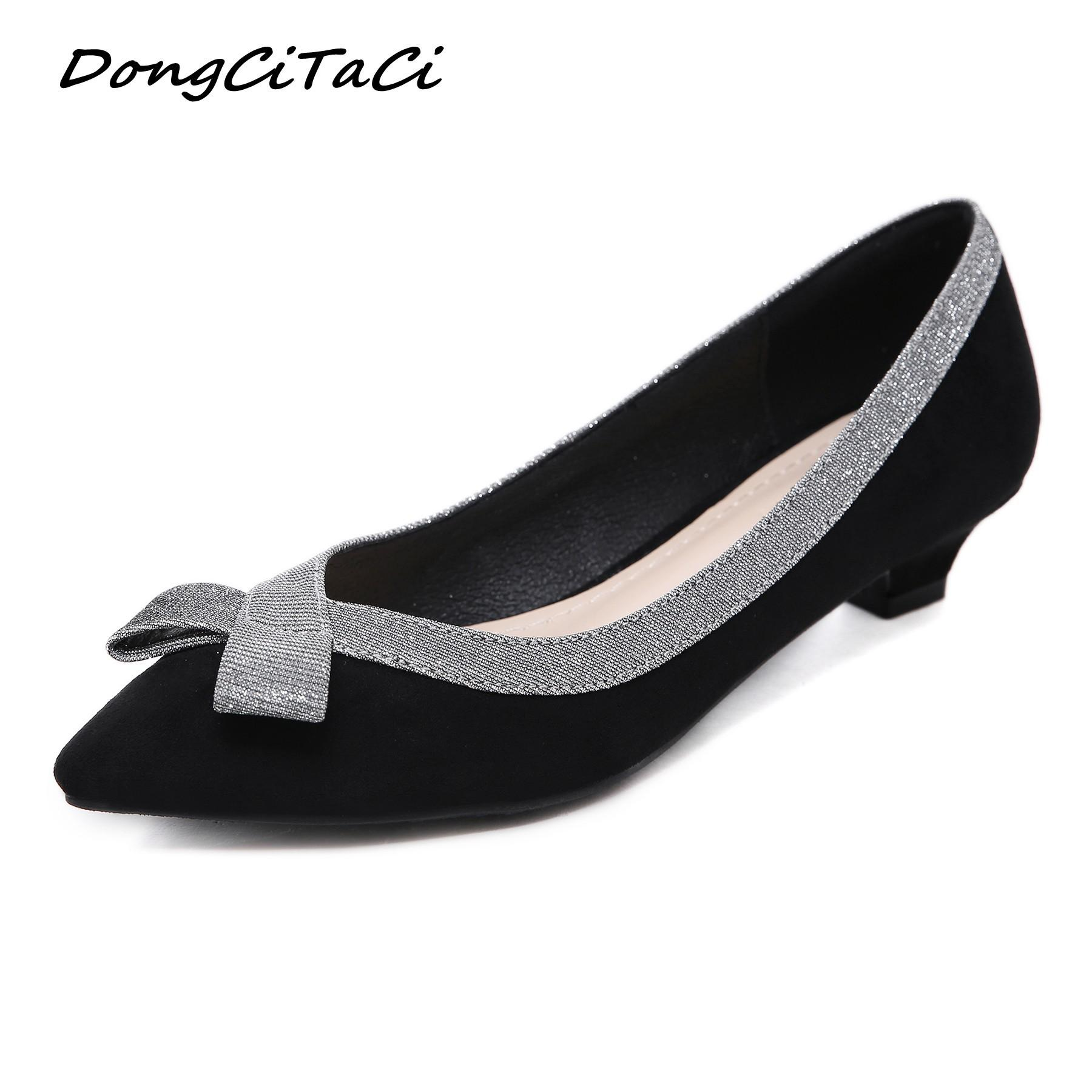 e0cdd93d78e Dress Shoes Dongcitaci 2019 Women Low Heels Woman Fashion Pointed Toe Retro  Bling Bowtie Lace Party Dress Ol Pumps Plus Size 35 42 Loafers For Women  Deck ...