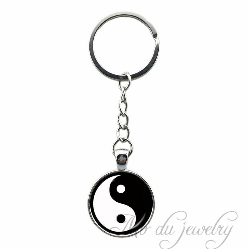 2018 Cross Yinyang Glass Pendant Key Chains Black White Art Picture Key Ring Women Men Keychain Vintage Chinese Yin Yang Jewelry