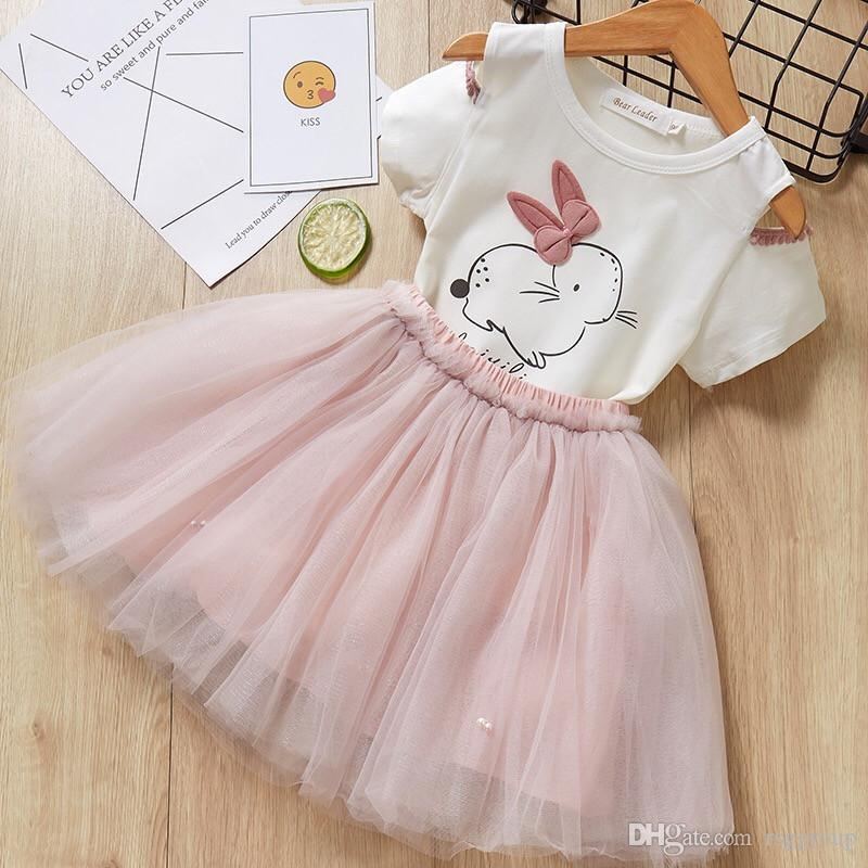 Summer INS Girls Outfits 2pcs Suits Set Rabbit Tees +Pearl Tutu Skirt Clothing Suits Baby Kids Stylishy design Clothes Clothing