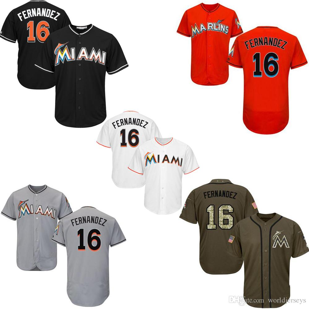 outlet store 0adc9 f9556 Mens Marlin 16 Jose Fernandez Baseball Jersey Black White Orange Grey Gray  Green Salute Players Weekend All Star Team Logo Memorial Day