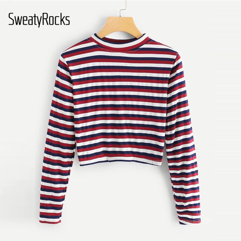 51b08c87b99 SweatyRocks Striped Crop Tee Streetwear Long Sleeve Cute Skinny Tops 2019  Spring Women Casual Short Colorful Tees And Tops Print Tees Buy Shirt From  Nihuyg