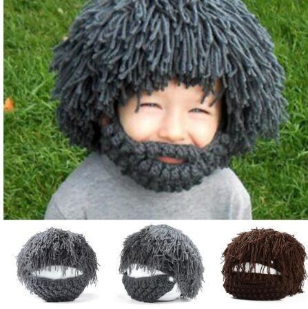 0700350e boy kids girl funny Wig Beard Hat Rasta Beanie Caveman Bandana Handmade  Crocheted Gorro Winter Men's Halloween Costume Funny Birthday Gifts